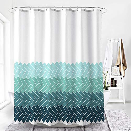 Luanchengnuanxing motivo ondulato blu sfumato, stile nordico, tenda for doccia for hotel/famiglia, materiale in poliestere, con gancio, impermeabile/inodore/ecologico, 180 * 180 cm bagno