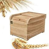 TONGJI 5kg Boîte à Riz Boite De Stockage Riz Rangement Stockage En bois Sceau Antipoussière Étanche à l'humidité Nourriture De Riz De Grain De Cuisine