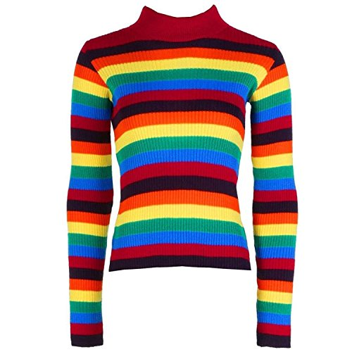 Mymixtrendz® 90/5000 Damen Langarm Stripe Rib Regenbogen Strickpullover Roll Neck Multi Color Pullover Top 8-14 (ML (EU 40-42), Rainbow)