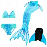 Das beste Mädchen Bikini Badeanzüge Schönere Meerjungfrauenschwanz Zum Schwimmen mit Meerjungfrau Flosse Schwimmen Kostüm Schwanzflosse - Ein Mädchentraum- Gr. 110, Farbe: A07(2)