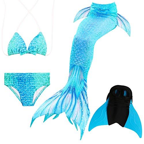 Kostüm Mädchen Aqua - Das beste Mädchen Bikini Badeanzüge Schönere Meerjungfrauenschwanz Zum Schwimmen mit Meerjungfrau Flosse Schwimmen Kostüm Schwanzflosse - Ein Mädchentraum- Gr. 150, Farbe: A07(2)