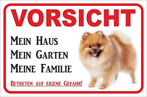 Schild - Vorsicht GELBER Spitz Zwergspitz Pomeranian