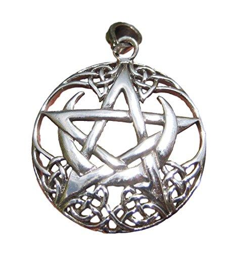 925 silberne Stern-Mond-keltischer Knoten Pegan Wicca Pentacle Pentazauberhafte Hexe Goth Gothic-Anhänger-Halskette 925 Silver Star Moon Pentagram Pendant Necklace Wicca Magic Goth Gothic