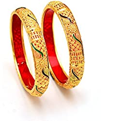 Jewar Bangle 2.6 Inches Fine Gold Finish Meena Work Gemstones Jewelry 7183