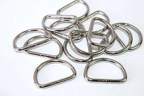 D-Ringe-Halbringe, 10 Stück 25x16,5x3mm *verchromt* für 25mm Gurt/Band geeignet.