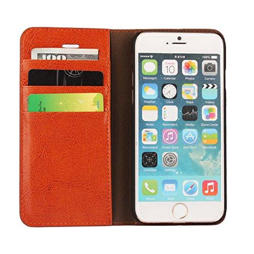 Cover iPhone 8, Cover iPhone 7, Jaorty Libretto di copertina con custodia in cassa di lusso con custodia in pelle con fascia di ricambio e slot per slot per iPhone 8 / 7 (4.7 ) - Rosso iPhone 6s / 6 (Marrone chiaro)