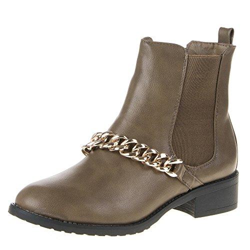 Damen Schuhe, 941, STIEFELETTEN Taupe