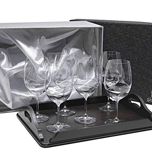 Set/Étui de 2 Coupes en Verre pour à vin ou à Eau + Plateau en Bois Couleur wenge rectangulaire, taillées à la Main, Collection 429\