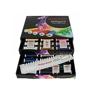 36 Farben x 200m ACKERMANN UNIVERSAL 120 NÄHGARN (Allesnäher) in handlicher Box. ACKERMANN UNIVERSAL 120 Nähgarn-Box. Nähgarnsortiment, Nähgarn-Set, Nähgarne, Nähgarn-Sortiment-Set, Nähmaschinengarn, Syngarn (Schwarz mit 5 Päckchen Organ Nadeln)