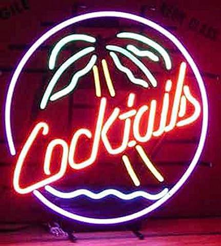 Cocktails palmier en verre véritable Neon Light Sign Home Beer Bar Pub Recreation salle salle de jeu Windows Garage Mur Store Grande plaque (43,2x 35,6cm)