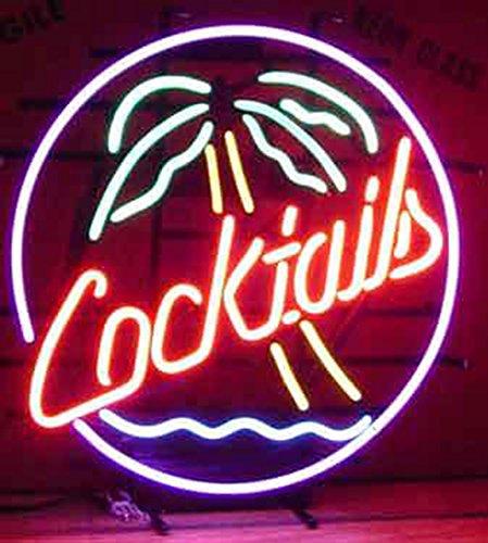 """Cócteles Palma Árbol real cristal luz de neón Sign casa cerveza Bar Pub recreación habitación sala de juegos Windows garaje pared cartel grande de tienda (17""""x14)"""