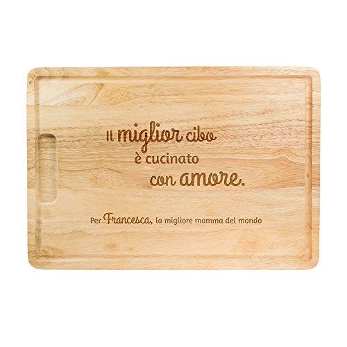 Casa vivente tagliere in legno con incisione - il miglior cibo è cucinato con amore - personalizzato con nome - sottopentola - vassoio - regali per lei - festa della mamma - ca. 40,5 x 28,5 x 2 cm