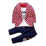 Bekleidung Longra 2pcs Kleinkind Baby jungen Kinder Shirt Tops + lange Hosen Kleidung Outfits Gentleman jungen Kleidung Set(1-4Jahre) (80CM 1Jahre, Red)