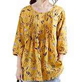Lazzboy Womens Tops Blouse 3/4 Long Sleeve Linen Ladies Floral Print Loose Casual Pullover Shirt