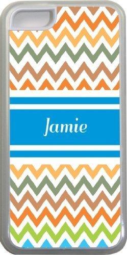 Jamie Chevron Bleu Nom Design Iphone 5C Coque (Transparent) avec protection pare-chocs en caoutchouc pour Apple iPhone 5C Étui vendre sur zeng