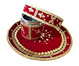Unique Arts Beautiful Velvet Decorated Maroon Karwa Chauth Steel Puja Thali Set