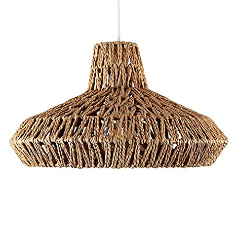 Round Rattan / Wicker Style Modern Ceiling Pendant Lamp Light Shades Lampshades (Brown).