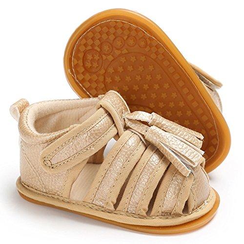 hibote Scarpe prewalker sandali antisdrucciolevoli del cuoio molle delle neonate dei neonati delle ragazze delle ragazze Black 12-18M oro