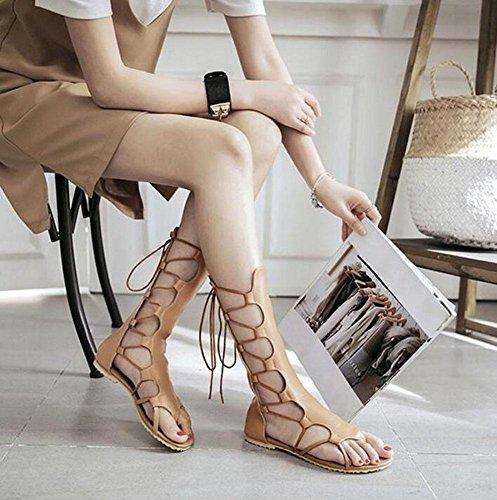 Frauen Open Toe Charming Hollow Toe Stiefel Sandalen Cross Strap Reißverschluss Large Size Schuhe 40-52 apricot