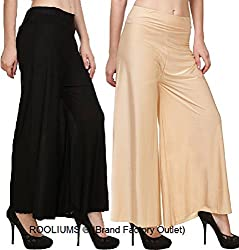 Rooliums Womens Trendy and Stylish Palazzo Pack of 2 (Blacck,Beige, Free Size)