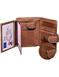 Leather Wallet Mens,Genuine Leather Wallet,Slim Tri-Fold RFID Blocking Men's Wallets,Corspake Wallet with Gift Box,11 Credit Card Slots,3 ID Windows,2 Cash Compartments, 1 Zipper and 1 Coin Pocket