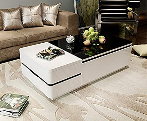OSPI White Gloss Coffee Table/low Table with 4 Storage drawers Black Tempered Glass Top (3)