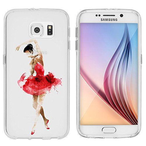 Samsung Galaxy S6 Hülle von licaso® für das Samsung S6 aus TPU Silikon Ballerina Red Dress Muster ultra-dünn schützt Dein Samsung S6 Case Design Schutzhülle Bumper