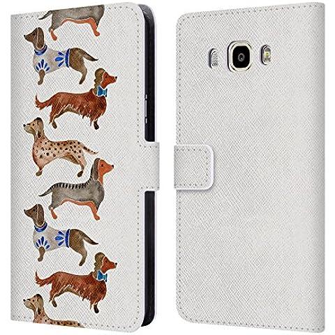 Ufficiale Cat Coquillette Bassotti Animali Cover a portafoglio in pelle per Samsung Galaxy J7 (2016)