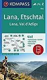 KOMPASS Wanderkarte Lana, Etschtal Lana, Val d´Adige: 4in1 Wanderkarte 1:25000 mit Aktiv Guide und Panorama inklusive Karte zur offline Verwendung in ... Skitouren. (KOMPASS-Wanderkarten, Band 54)
