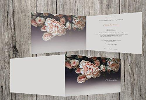Trauerkarten-Druck   Danksagungskarten Trauer   Danksagungskarten Trauer Rosen   20 Karten   mit Individualisierung & Umschlägen   in KaminOrange