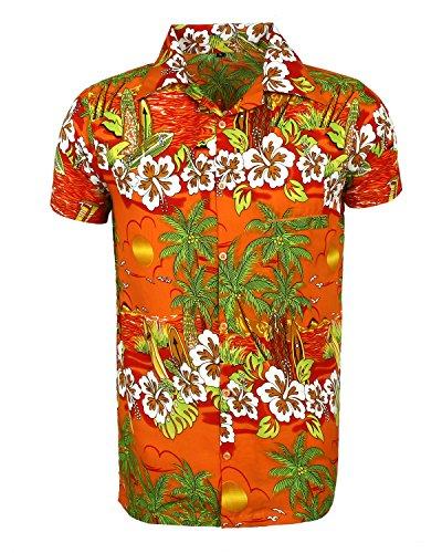 SAITARK-Camisa-Casual-Floral-Para-Hombre-Orange-Sun-Medium
