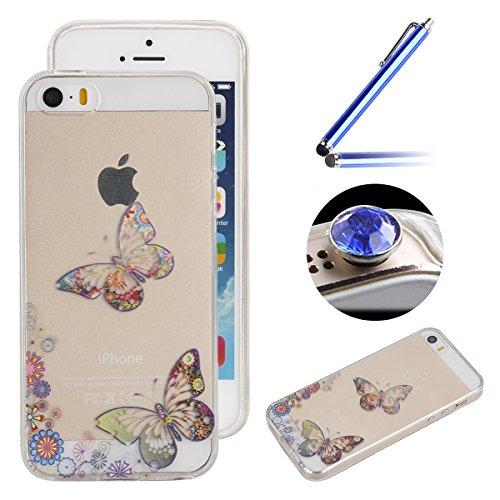 Etsue Coque pour Apple iPhone 6/6S 4.7,TPU Silicone Etui Case Cover pour Apple iPhone 6/6S 4.7,Haute Qualité Transparent Clair Soft Gel pour Apple iPhone 6/6S 4.7,Coloré Fleur Montre Campanula Motif S Papillon