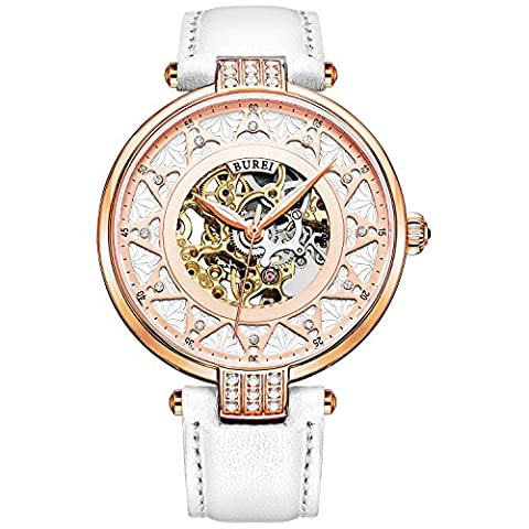 BUREI Women Skeleton Automatic Watch Wristwatch with Rose Golden Dial Sapphire Crystal Lens White Leather Strap