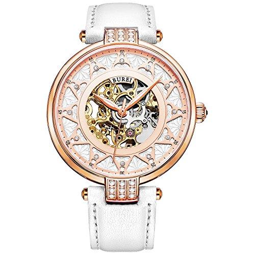 BUREI Damen Mechanische Skelett Automatikuhr Rosegoldene Gehäuse Uhr mit Kratzresistenter Saphirglas und Weißem Lederband