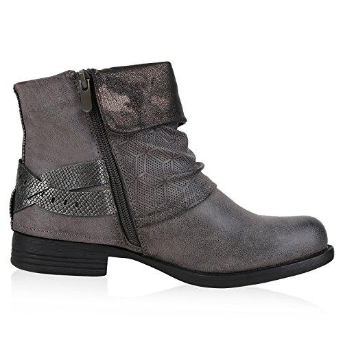 Napoli-fashion Stivaletti Da Donna Biker Boots Rivetti Fibbie In Pelle Ottica Grigio Scuro