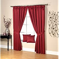 lujo ravalli ramitas diseo jacquard readymade par de abrazaderas cortina color rojo - Cortinas Rojas