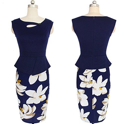 Damen Vintage Kleid Elegant Etuikleid Wickelkleid Partykleid knielang Blumendrucken Cocktailkleid ärmellos Ballkleid Marine