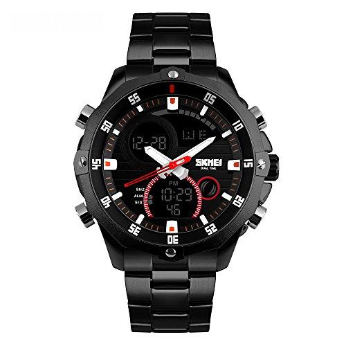 Reloj de pulsera de Bozlun de acero inoxidable, resistente al agua, digital de fecha automática, cronómetro dual