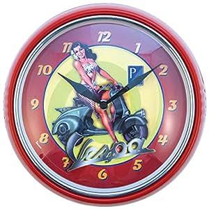 Officiailly licence Vespa Horloge murale rétro en métal Rouge