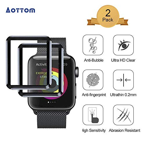 [2 Stück]Aottom Kompatibel Apple Watch 38mm Bildschirmschutz Folie Apple Watch Series 3 Screen Protector Schutzfolie iWatch 38mm Glas Series 2 Schutz Folie 9H Full Glass Film für iWatch Series 3/2/1