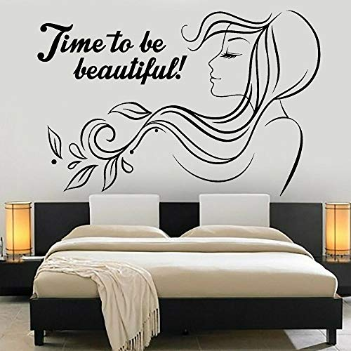 Tianpengyuanshuai Schönheitssalon Vinyl wandtattoo Frau friseursalon wandaufkleber mädchen Zimmer Nordic Dekoration selbstklebend 40x63 cm