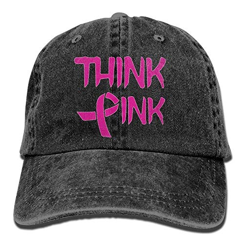 Pink Ribbon-baseball-cap (Hoswee Unisex Kappe/Baseballkappe, 2018 Adult Fashion Cotton Denim Baseball Cap Think Pink with Ribbon Cancer Awareness Classic Dad Hat Adjustable Plain Cap)