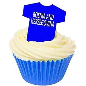 Pack of 12 Edible Wafer Decorations - Bosnia & Herzegovina Football Shirts 201-428