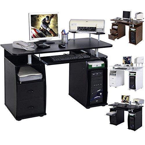 Computertisch PC Tisch Schreibtisch Bürotisch Arbeitstische mit Tastaturauszug und Schubladen 120 x 55 x 85 cm (Schwarz)