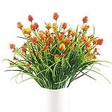 HUAESIN 4 unids Ramo de Flores Artificiales Flor Falsa Pinnace Planta de Plástico para mesa de comedor jardín de la boda casa restaurante interior al aire libre, Naranja