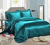 Set di biancheria da letto da 6 pezzi, con copripiumino, lenzuola abbinate, 4 federe per cuscini, in raso di seta, 100 % poliestere, Teal, King