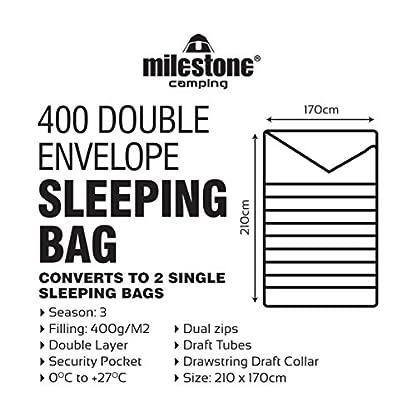 Milestone Camping Unisex's 26750 Envelope Sleeping Bag 3 Season Double Insulation Grey & Orange, Grey 7