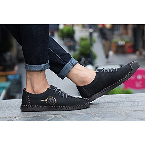 Juleya Scarpe casual da uomo - Mocassini comodi Scarpe Sneakers basse Sneakers slip on Casual Mocassini in pelle Scarpe da Walking Leisure Nero(Cordones)
