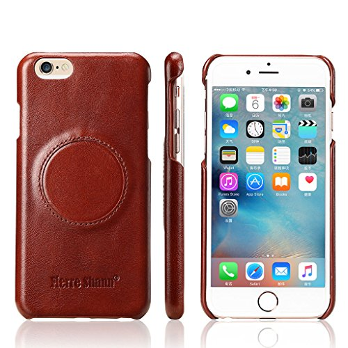 Ultra Dünn Echtem Leder Hülle für iPhone 6S/6,CareyNoce Luxus Handgefertigt Schutzhülle für Apple iPhone 6S iPhone 6(4.7 Zoll) with Ring Holder -- Braun M01