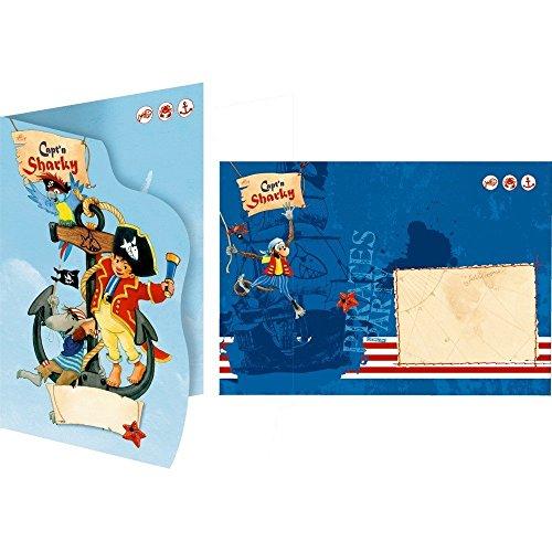 gskarten-Set * CAPT'N SHARKY * für Kindergeburtstag oder Mottoparty // mit 8 Einladungen und 8 Umschlägen // Invites Kinder Geburtstag Pirat Piratenschiff Kapitän Captain Pirates (Piraten-geburtstags-einladungen)